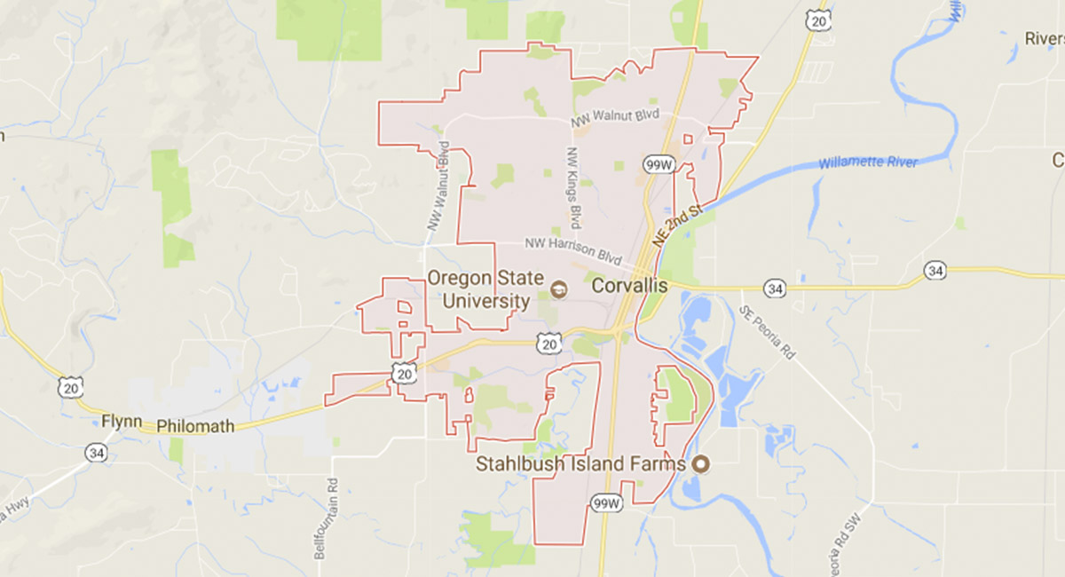 A google map of Oregon State's campus.